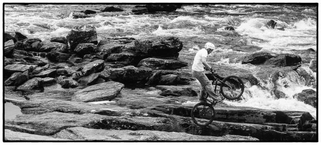 Killin Falls stunt biker.
