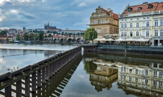 Vltava River river front looking at the Charles Bridge