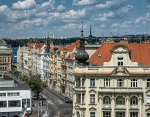 View from the top of the Dancing House in Prague