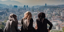 Over looking the city of Sarajevo.