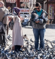 A Turkish couple feeding the pigeons.