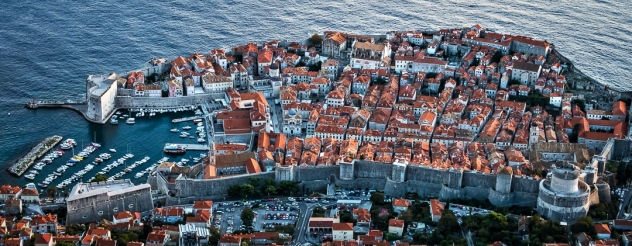 Dubrovnik walled fortress from above