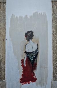 Street art of Fado singer.