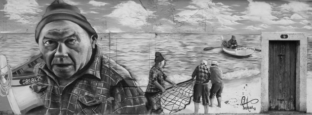 Wall art in Portuguese fishing village