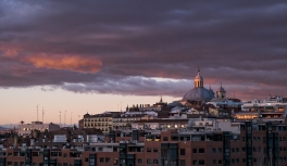Sunset from our apartment in Madrid